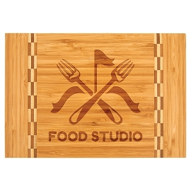 Bamboo Cutting Board with Butcher Block Ends