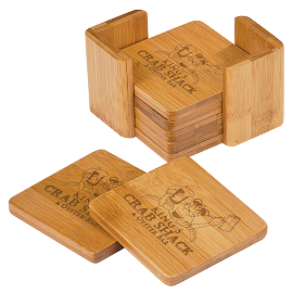 6 PC Bamboo Square Coaster Set With Custom Engraving
