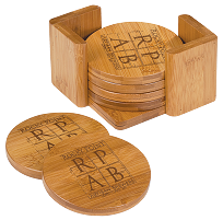 6 PC Round Bamboo  Coaster Set With Custom Engraving