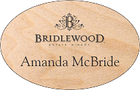 Oval Engraved Wood Name Tag