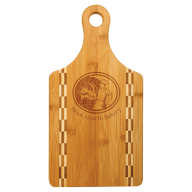 Bamboo Cutting Board with Butcher Block Inlay and Handle