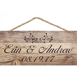 Custom Printed Faux Wood Hanging Wall Sign - 4 1/2