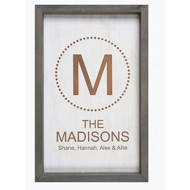 Custom Printed Framed Faux White Wood Decorative Sign - 12