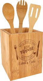 Bamboo Kitchen Tool Holder With Tools