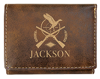 Custom Laser Etched Leatherette Trifold Wallet
