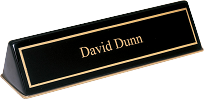 Ebony Piano Finish Desk Name Plate With Metal Accent