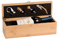 Custom Engraved Bamboo Wine Box With Tools