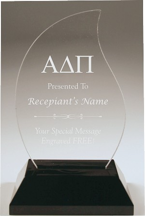 Flame Shaped Alpha Delta Pi Acrylic Award