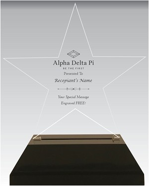 Star Shaped Alpha Delta Pi Acrylic Award