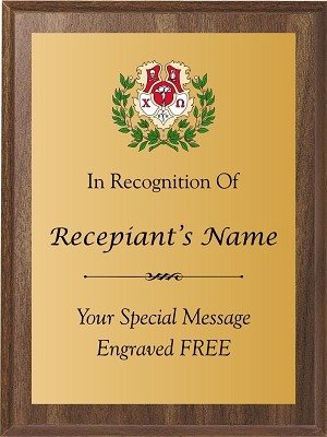 Chi Omega Sorority Award Plaque with Color Print