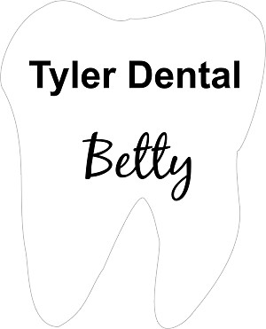 Tooth shaped dental name tag
