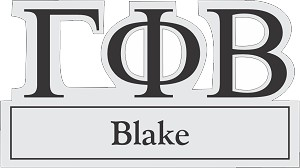 Greek letter cutout style name tag for Gamma Phi Beta