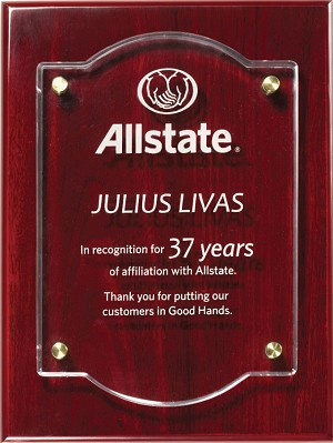 Rosewood Piano Finish Award Plaque With Acrylic Plate