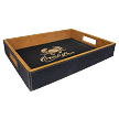Leatherette Serving Tray / Black and Gold