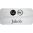"1 1/2"" x 3"" Silver Business Name Tag"