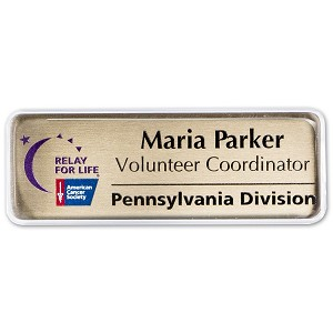 "1"" x 3"" Metal Name Tag With Clear Cover"